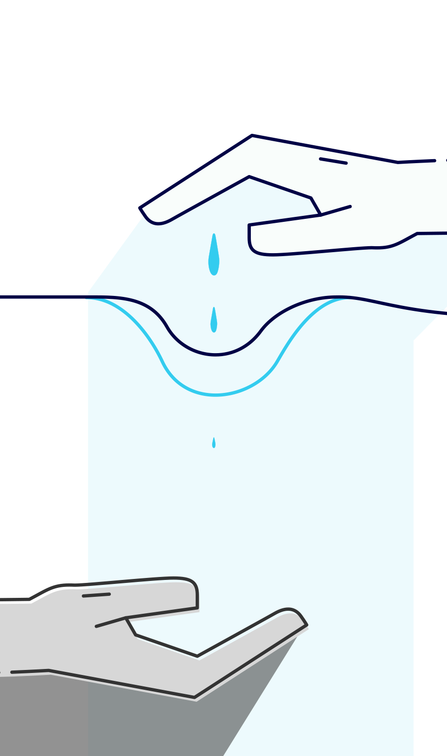 Illustration of two hands – one supplies the other with water.