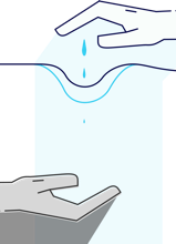 Illustration of two hands – one supplies the other with water (mobile version).
